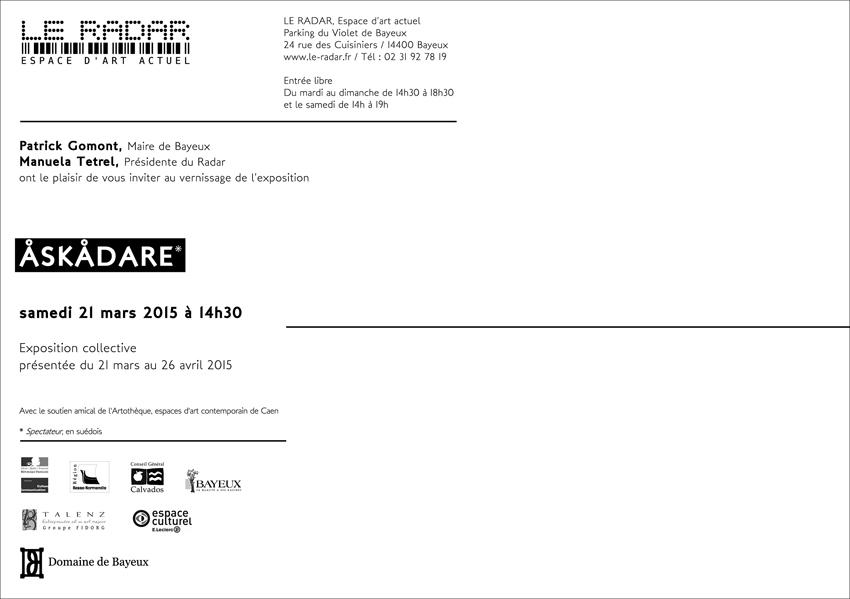 Exposion Askadare Galerie Le Radar, Espace d'art actuel